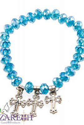 Turquoise-Crystal-Beads-Rosary-Bracelet-Stretch-Praying-Crosses-Handmade-Israel-0