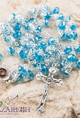 Unique-Light-Blue-Crystal-Beads-Catholic-Rosary-with-Holy-Soil-Medal-Crucifix-0