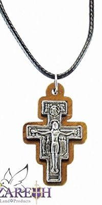 Unique-Silver-Plated-Franciscan-Cross-Pendant-Handmade-Olive-Wood-Necklace-0