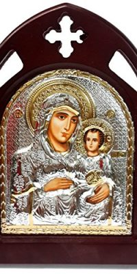 VIRGIN-MARY-JESUS-Wooden-Carved-Icon-SILVER-Plated-Handmade-Christian-JERUSALEM-0