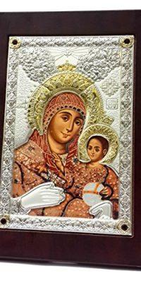 Virgin-Mary-Of-Bethlehem-Baby-JESUS-Silver-950-Gold-Parts-ICON-RUBY-STONES-0