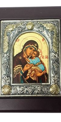 Wall-Hanging-Silver-with-Gold-Icon-Wood-Frame-Virgin-Mary-Baby-Jesus-Jerusalem-0