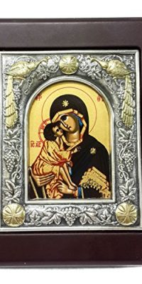 Wall-Hanging-Silver-with-Gold-Icon-Wood-Frame-Virgin-Mary-Of-Bethlehem-Holy-Land-0