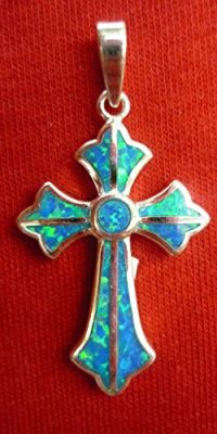 Beautiful-Cross-Crucifix-Pendant-Handmade-of-Silver-925-with-Opalite-Stone-0