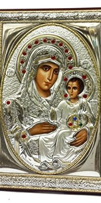 Blessed-Virgin-Mary-Baby-Jesus-Pure-Silver-Icon-Gold-Parts-Zircon-Crystals-45-0