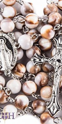 Brown-White-Acrylic-Beads-Rosary-Catholic-Necklace-Miraculous-Medal-Crucifix-0
