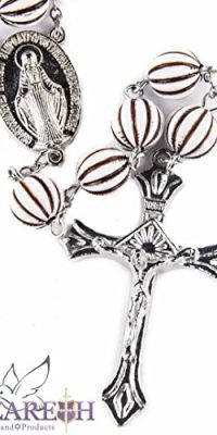 Catholic-Brown-White-Acrylic-Beads-Rosary-Necklace-Miraculous-Medal-Crucifix-0