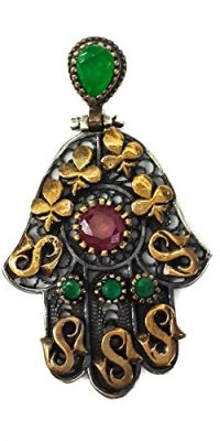 Hamsa-Hand-Of-Fatima-Silver-925-Pendant-Gold-9k-Filigree-Ruby-Emerald-Crystals-0