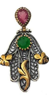 Hamsa-Hand-Of-Fatima-Silver-925-Pendant-Gold-Filigree-Ruby-Emerald-Crystals-15-0