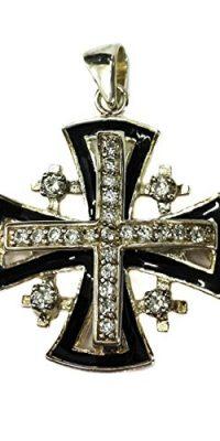 JERUSALEM-CROSS-Silver-925-Swarovski-Crystals-Black-Enamel-PENDANT-Holy-Land-0