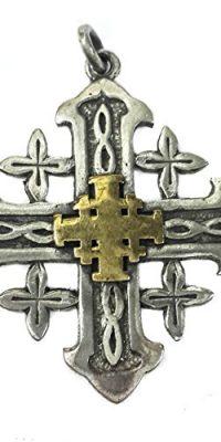 JERUSALEM-CROSS-Silver-925-with-Gold-Handmade-Pendant-Oxidised-Holy-Land-12-0