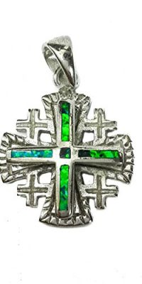 Jerusalem-Cross-Sterling-Silver-925-Pendant-Green-Blue-Opal-Stone-Holy-Land-0
