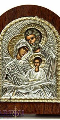 Jesus-Catholic-Silver-925-Icon-Holy-Family-Jerusalem-Virgin-Mary-Joseph-39-0