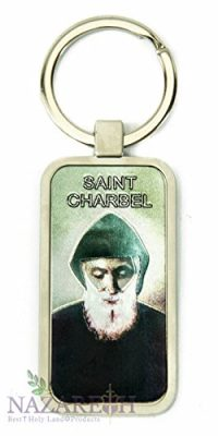Saint-Charbel-Makhlouf-Keychain-Christian-Key-Ring-Holy-Land-Charm-24-0