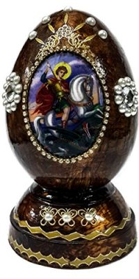 Saint-George-Dragon-Wooden-Lacquer-Egg-Christian-ICON-With-Zircons-JERUSALEM-0