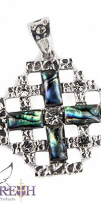 Shell-Jerusalem-Cross-Pendant-Silver-Plated-with-Zircon-Crystals-Holy-Land-12-0