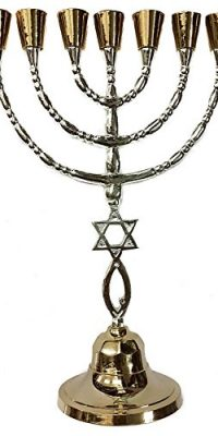 Solid-MESSIANIC-Temple-MENORAH-7-Branches-Star-Of-David-Fish-JERUSALEM-118-0