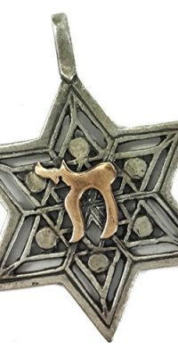 Star-of-David-Chai--Judaica-Pendant-Kabbalah-Silver-925-with-9k-Gold-Jerusalem-0