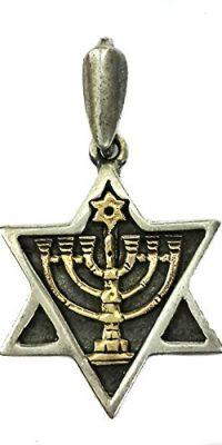 Star-of-David-Menorah-Judaica-Pendant-Sterling-Silver-925-with-9k-Gold-Jerusalem-0