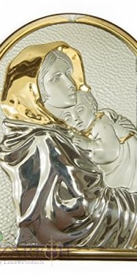 Virgin-Mary-With-Baby-Jesus-Icon-Italian-Sterling-Silver-950-With-9K-Gold-15-0