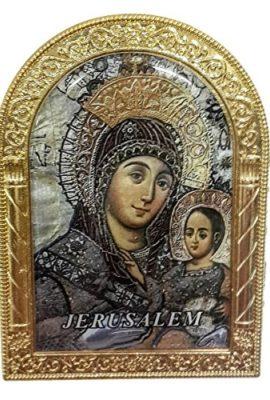 Blessed-Virgin-Mary-Golden-Metal-35-Icon-Picture-Jerusalem-Keepsake-Holy-Land-0