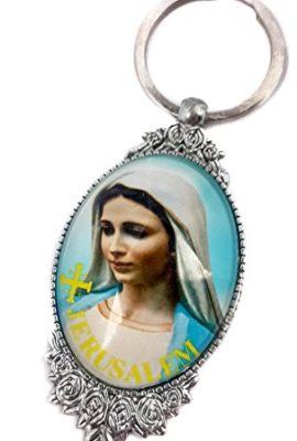 Blessed-Virgin-Mary-Unique-Keychain-Catholic-Key-Ring-Jerusalem-Charm-0