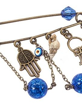 Bronze-Hamsa-Charm-Pin-Stroller-With-Natural-Shell-Evil-Eye-Protection-Amulet-0