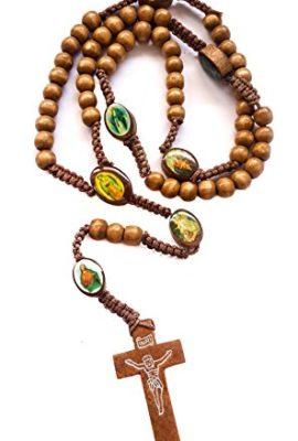 Catholic-Prayer-Rosary-Brown-Wood-Saint-Beads-Thread-Necklace-Crucifix-Jerusalem-0