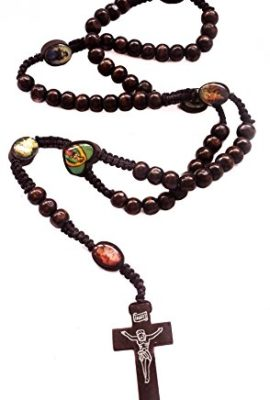 Catholic-Prayer-Rosary-Dark-Wood-Saints-Beads-Thread-Necklace-Crucifix-Jerusalem-0