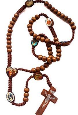 Catholic-Prayer-Rosary-Wooden-Saints-Beads-Thread-Necklace-Crucifix-Jerusalem-0