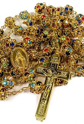 Colorful-Zircon-Beads-Golden-Rosary-Catholic-Necklace-Miraculous-Medal-Cross-0