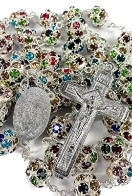Colorful-Zircon-Beads-Silver-Rosary-Catholic-Necklace-Miraculous-Medal-Cross-0