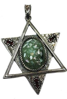 Genuine-Star-Of-David-Silver-925-Roman-Glass-Pendant-Garnet-Crystals-Hamsa-2-0