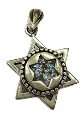 Genuine-Star-Of-David-Sterling-Silver-925-Roman-Glass-Pendant-Holy-Land-Israel-0