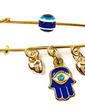 Gold-Plated-Pin-Stroller-Baby-Charm-Enamel-Hamsa-Evil-Eye-Protection-Amulet-0