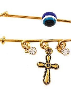 Gold-Plated-Pin-Stroller-Baby-Charm-Evil-Eye-Protection-Amulet-Cross-Zircons-0