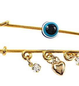 Gold-Plated-Pin-Stroller-Baby-Charm-Evil-Eye-Protection-Amulet-Heart-Zircons-0