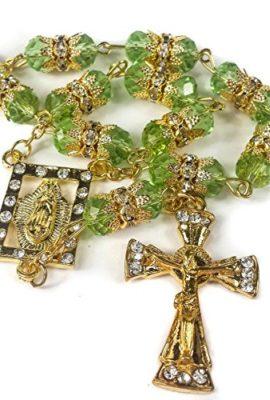 Golden-Car-Rearview-Mirror-Rosary-Green-Crystals-Beads-Zircons-Cross-Jerusalem-0