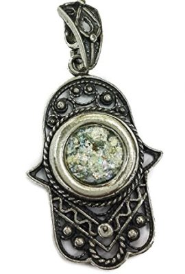 Hamsa-Hand-Of-Fatima-Sterling-Silver-925-Roman-Glass-Pendant-Holy-Land-Israel-0