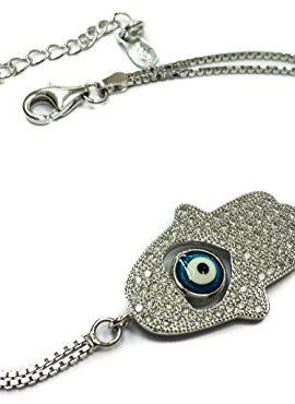 Heart-Shape-Hamsa-Evil-Eye-Bracelet-925-Sterling-Silver-Cubic-Zirconia-Crystals-0