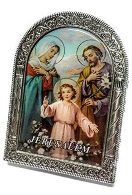 Holy-Family-Silver-Metal-35-Icon-Picture-Jerusalem-Keepsake-Holy-Land-0