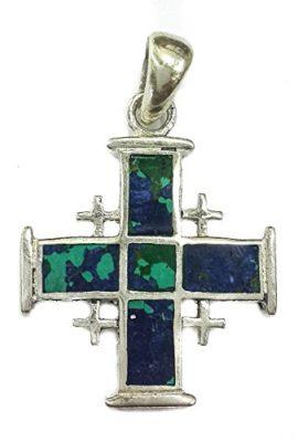 Jerusalem-Cross-King-Solomon-Eilat-Stone-Sterling-Silver-925-Handmade-Holy-Land-0