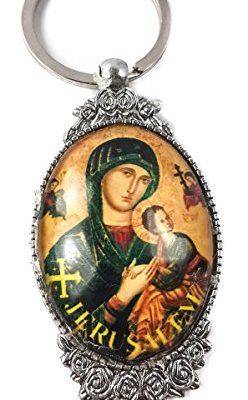 Jerusalem-Mary-and-Baby-Jesus-Unique-Keychain-Catholic-Key-Ring-Jerusalem-Charm-0