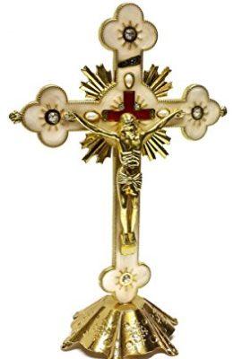 Jesus-INRI-Christian-Cross-Statue-Golden-Standing-Crucifix-With-Zircons-81-0
