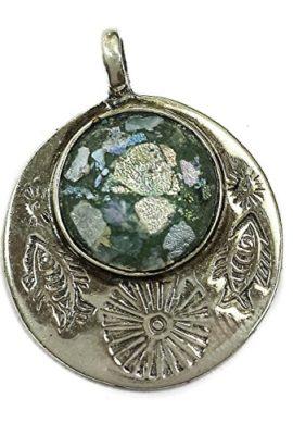 Round-Silver-925-Roman-Glass-Pendant-Fish-Sun-Engrave-Natural-Jewelry-Holyland-0