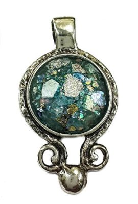 Round-Unique-Roman-Glass-Sterling-Silver-925-Small-Pendant-Handmade-Holy-Land-1-0