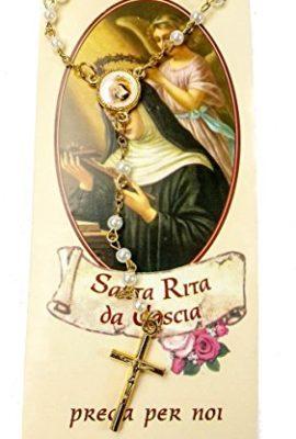 Saint-Rita-Da-Cascia-Rosary-Pearl-White-alike-Beads-Blessed-Prayer-Medal-Cross-0