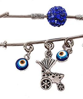 Silver-Plated-Charm-Pin-Stroller-Baby-Carriage-Evil-Eye-Protection-Blue-Zircons-0