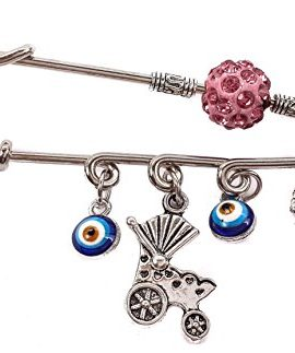Silver-Plated-Charm-Pin-Stroller-Baby-Carriage-Evil-Eye-Protection-Pink-Zircons-0