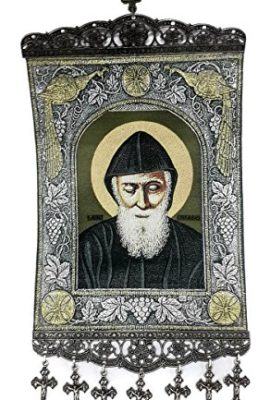 St-Charbel-Makhlouf-Hanging-Wall-Tapestry-Icon-Textile-Banner-Holy-Land-XL-156-0